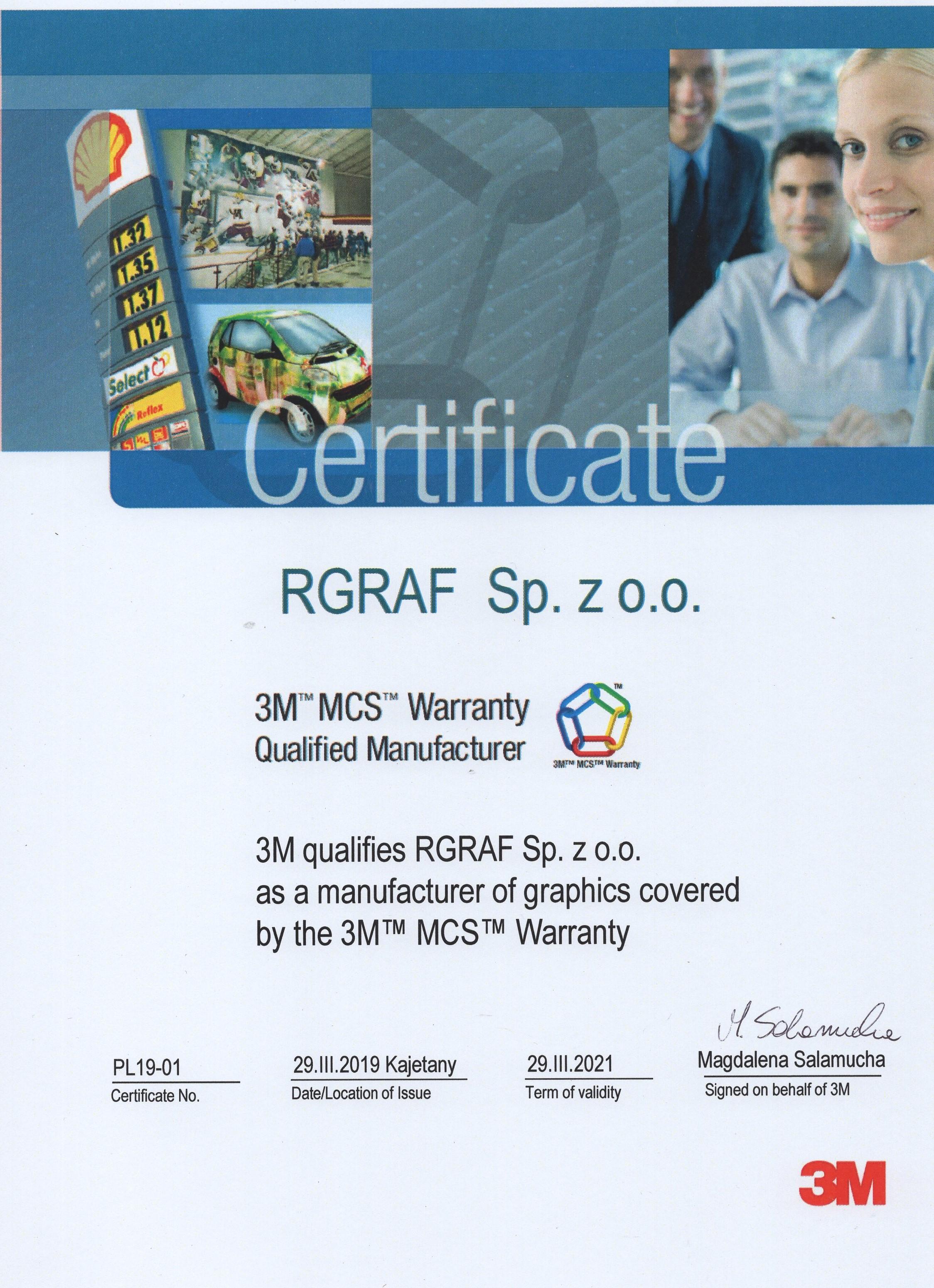 Certyfikat MCS Rgraf Sp. z o.o.